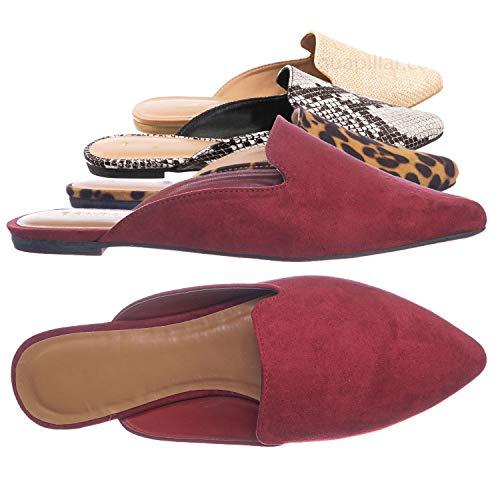 Aquapillar Slip On Mule Slippers - Women Flat Backless Pointed Toe Pump Wine Red