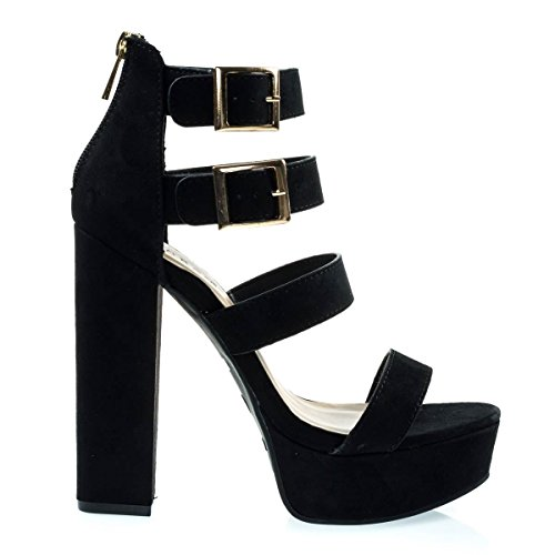 Gladiator Black Heel Chunky Dress Platform On Block Suede Open Sandal Toe Faux fzqEwxqO