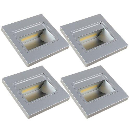 MENGS® 4 Stück 1W COB LED Wand & Treppenbeleuchtung Nachtlicht Lampe & Leuchtmittel LEDs Treppenlicht (Warmweiß 3000K, 140º Abstrahlwinkel, 110V - 260V AC, 94 x 31mm) Energiespar Licht - Silber