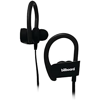 203fdc72e95 Billboard Bluetooth Wireless Hook Over Earbuds With Tangle Free Flat Cord,  Controls and Microphone - Black