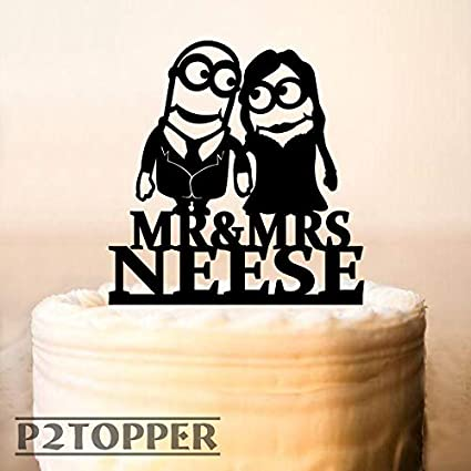 Superb Minion Wedding Cake Topper Cake Topper Minions Minion Cake Topper Personalised Birthday Cards Cominlily Jamesorg