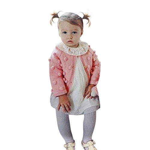 GBSELL Kids Toddler Baby Girls Clothes Knitted Sweater Cardigan Tops Coat (Pink, 4T) by GBSELL