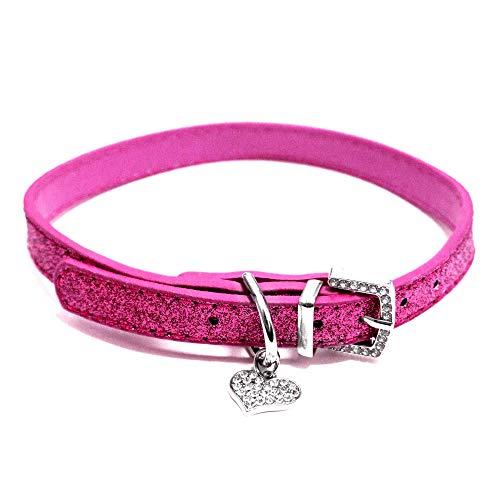 (Bagoo Pets Diamond Heart Glitter Collar for Dogs & Cats (Hot Pink))