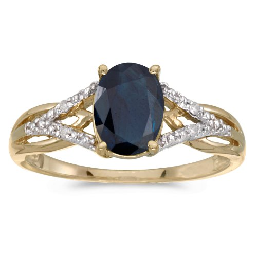 (14k Yellow Gold Oval Sapphire And Diamond Ring (Size 8))