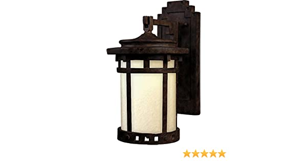 Sienna Finish Dry Safety Rating LED Bulb Maxim 55031MOSE Santa Barbara LED 1-Light Outdoor Wall Lantern Glass Shade Material Standard Dimmable Mocha Glass 60W Max. 2016 Rated Lumens