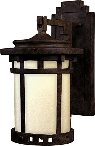 Santa Barbara Porch Light - Maxim 55035MOSE Santa Barbara LED 1-Light Outdoor Wall Lantern, Sienna Finish, Mocha Glass, LED Bulb, 60W Max, Damp Safety Rating, Standard Dimmable, Glass Shade Material, 2016 Rated Lumens