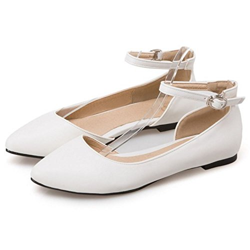 Casual Shoes Ankle D'Orsay White Strap TAOFFEN Sandals Ballet Women Buckle 1xOZOqw5
