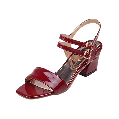 Mee Shoes Charm Patent Leather Mid-heel Block-heel Square Toe Double Buckles Sandals Shoes Wine Red sO93N
