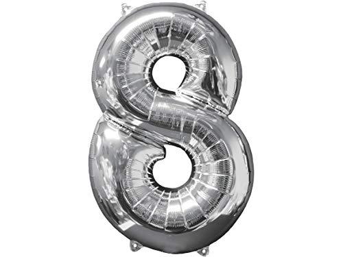 Balão Metalizado Midshape Numero 8 Prata Pack Regina Prata