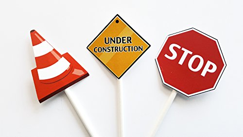 Construction Cupcake Toppers - Cone, Stop Sign, Under Construction -
