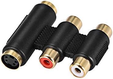 uxcell メス-メスステレオジャックカプラーアダプター 金メッキ 2-RCA + S-ビデオ 4P ホワイト レッド