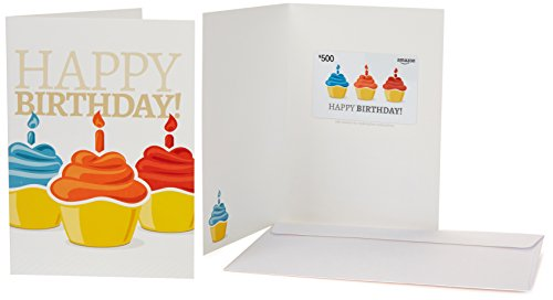 Amazon.com $500 Gift Card in a Greeting Card (Birthday Cupcake Design) - Birthday Cake Greeting
