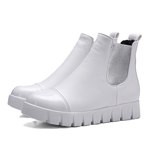 AllhqFashion Womens Low-top Assorted Color Pull-on Round Closed Toe Low-Heels Boots White 8B9QxIqf9