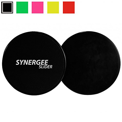 iheartsynergee Synergee Jet Black Gliding Discs Core Sliders. Dual Sided Use on Carpet or Hardwood Floors. Abdominal Exercise Equipment