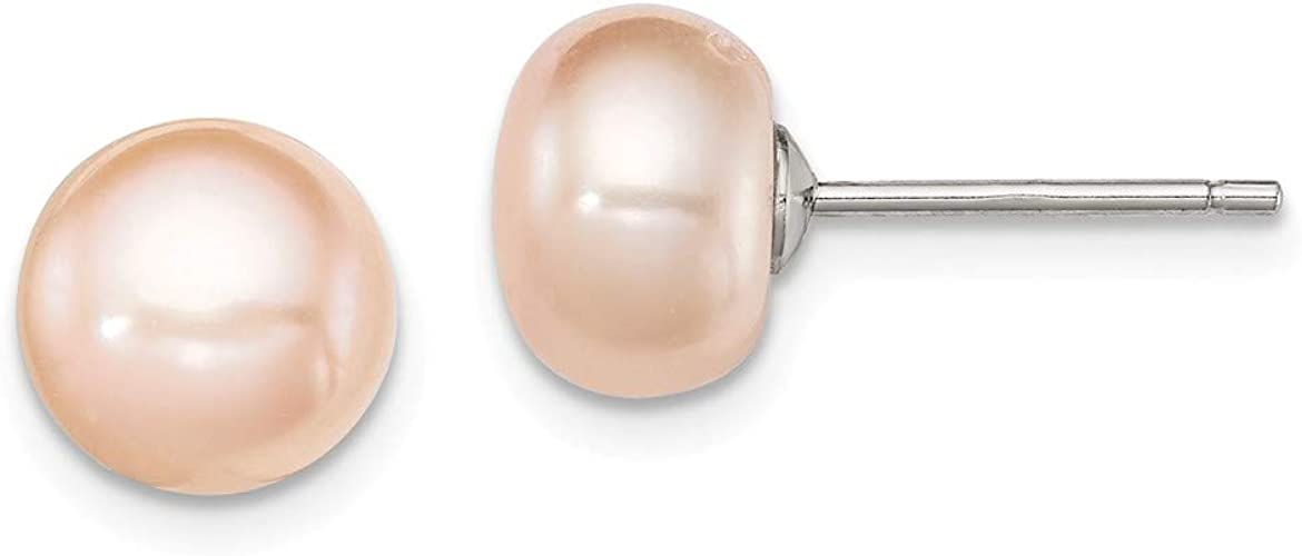 9-10mm PEACH PINK Pearl Ear ring Set 925 SOLID Sterling Silver