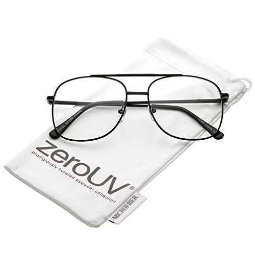 zeroUV - Classic Metal Double Crossbar Square Clear Lens Aviator Glasses 55mm (Black / - Glasses Bar Black