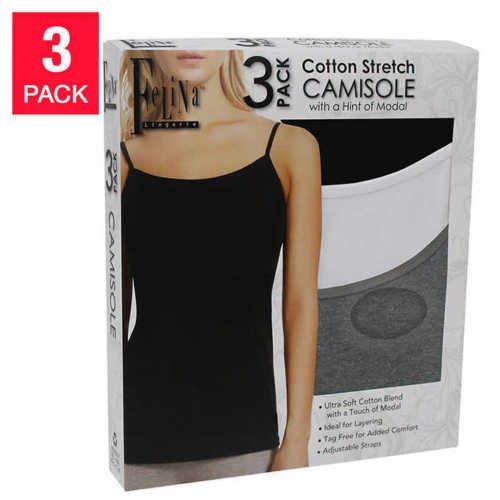 Felina Women's 3 Pack Cotton Stretch Camisole, Black/White/Gray (Cotton Womens Camisole)
