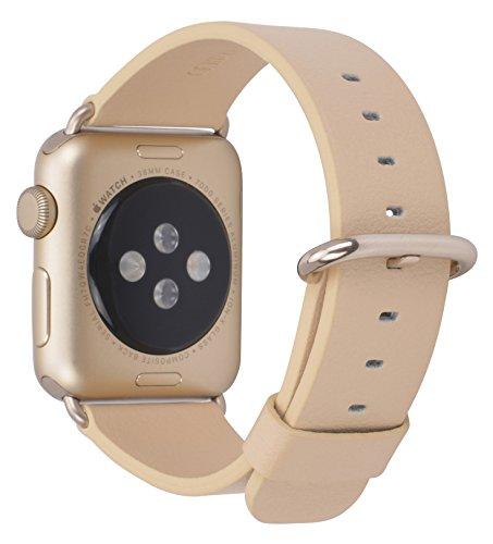 JSGJMY Apple Watch Band 38mm Women Beige Genuine Leather ...