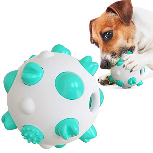 YBEL Interactive Dog Toys Ball - Virtually Indestructible Dog Ball Teeth Cleaning Dog Chew Toys for Puppies Teething Small Dogs Aggressive Chew Toys for Large Dogs, IQ Treat Ball | Food Dispensing