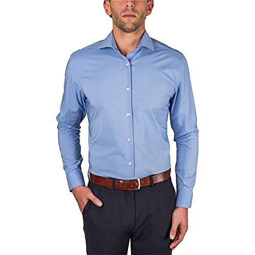 Perry Ellis Portfolio Men's Travel Luxe Tech Dress Shirt, Blue Pindot, 18-36/37