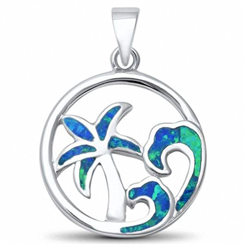 Palm Tree Wave Pendant Created Blue Opal 925 Sterling Silver Choose Color