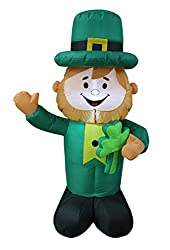 4 Foot Tall Lighted St Patricks Day Inflatable Leprechaun...