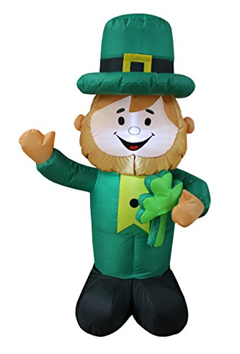 4 Foot Tall Lighted St Patricks Day Inflatable Leprechaun Holding Shamrock Cute Lucky Indoor Outdoor Lawn Yard Art Decoration for $<!--$49.00-->