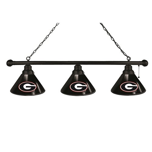 NCAA 3-Shade Pool Table Light by Holland Bar Stool - UGA (Black Fixture) - Bar Black Shade Pool Table