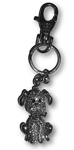Izaia Silver Strass Dog with Bone Keychain (Strass Rings)