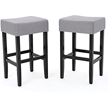 Amazon Com Delta Light Grey Fabric Backless Barstools