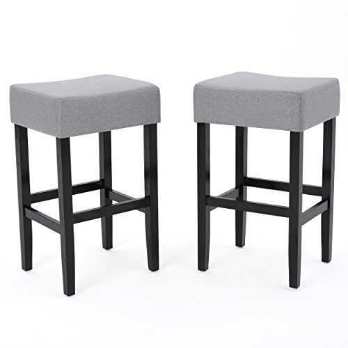 Delta Light Grey Fabric Backless Barstools Set of 2