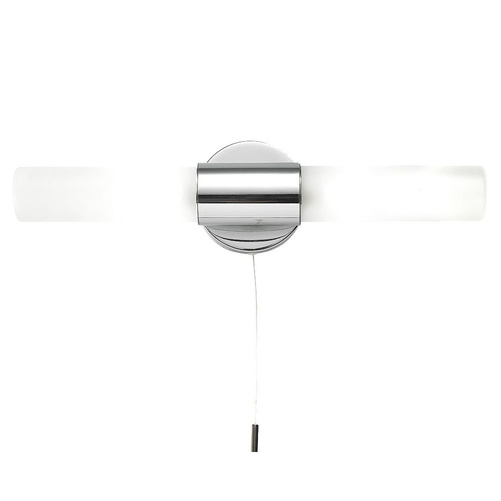 Polished Chrome 2 X G9 Ip44 Bathroom Wall Light With Pull Cord Switch For Bathrooms Pullswitch First Choice Lighting
