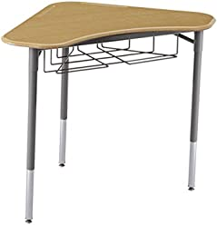 "Learniture Boomerang Collaborative Desk with Wire Box 36"" W x 28"" D, Maple, LNT-INM1032SM-SO (Pack of 2)"