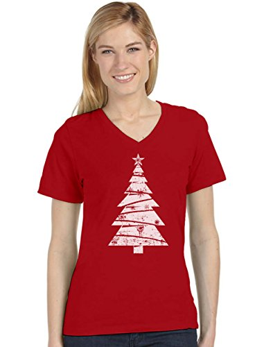 Big White Distressed Christmas Tree - Xmas Gift Idea Women's Fitted V-Neck T-Shirt Large Red (Christmas Trees For Ideas Cool)