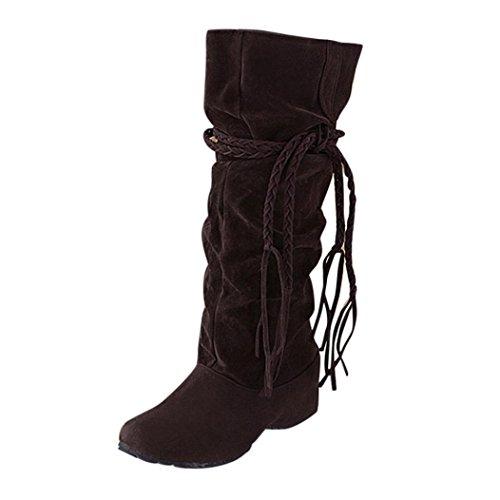 Volante El Con Mujer Negro La Altura La Mujer Invierno EU Zapatos Aumento Fruncido Marrón XINANTIME De Borla Mate Botines 36 Botas Superficie xzRwX