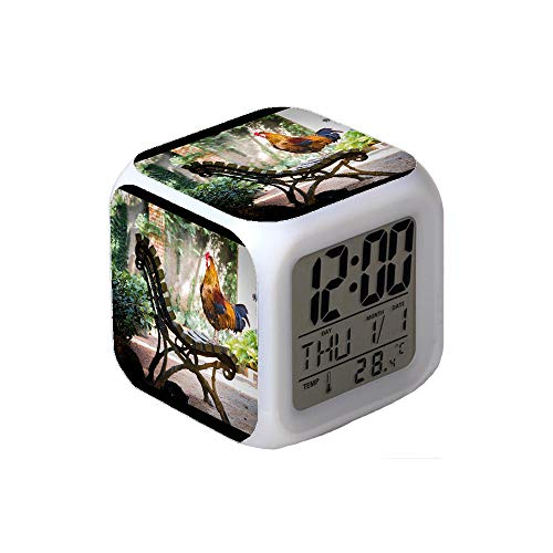 7Colors LED Changing Digital Alarm Clock Desk Thermometer Night Glowing Cube LCD Clock Home Decor Close-up Photography of Orange Rooster on Brown Wooden Bench