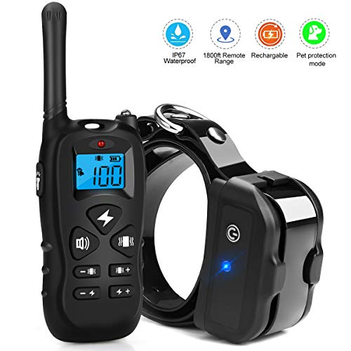 Kungber Dog Training Collar, Rechargeable Dog Shock Collar with Remote,Up to 1800Ft Range,with Beep/Vibration/Electric Shock/Light Modes,100% Waterproof Safe for Small Medium Large Dogs (Black) ()
