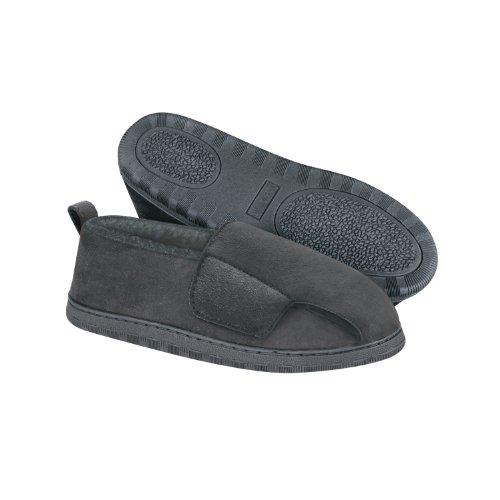 Dreams Slippers (Adjustable Swollen Feet Loafers, Mens X-Large (11-12), Black, 1 pair)