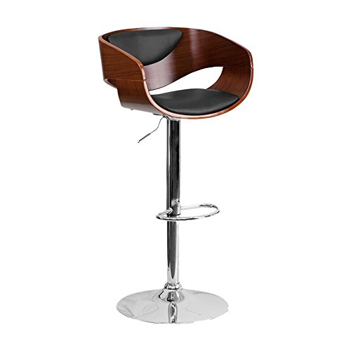 Brentwood Vinyl - Offex Brentwood Black Vinyl Upholstered Walnut Adjustable-height Barstool