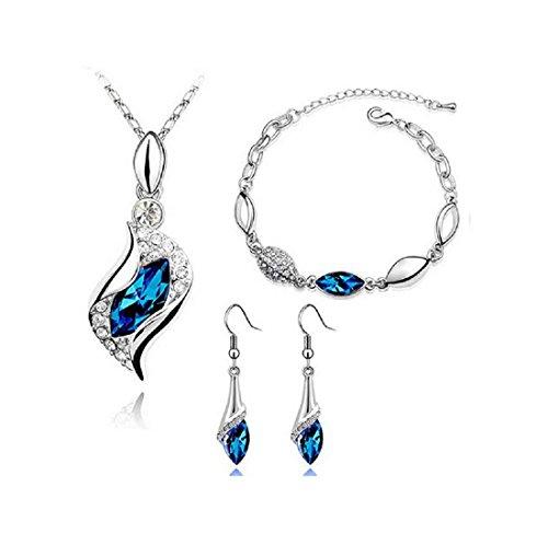 Blue Long Teardrop Swarovski Element Set Austria Crystal Fashion Bracelet Earrings Pendant Necklace ()