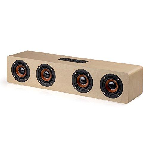 大音量Bluetooth スピーカー スーパーショック 超迫力 タッチ 3dステレオ ワイヤレススピーカー PCスピーカー スーパーショック 高音質マイク内蔵 4*3W拡声器 強化された低音出力 ハンズフリー通話 ブルートゥース おしゃれ 木目調 20時間連続再生 (カーキ)の商品画像