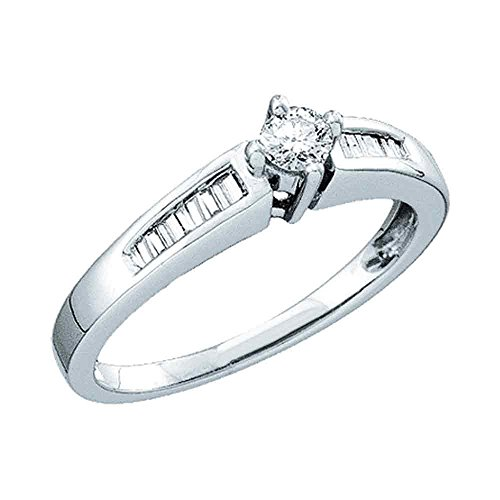 (14k White Gold Round Diamond Engagement Ring Solitaire Bridal Band Baguette Side Stones 1/4 ctw Size 6)