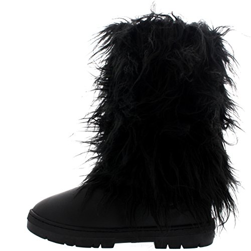 Holly Womens Long Bedeckt Regen Winter Warm Tall Snow Boots Schwarzes Leder