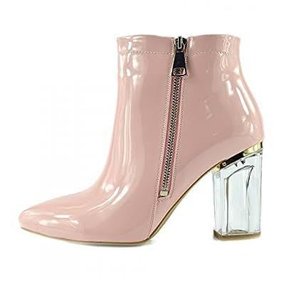 Damas Botas De Tobillo Transparente De Metacrilato Bloque De Tacón Alto Zapatos De Moda - UK8 / EU41, Rosa-NF025, Clubbing Mediados De Los Zapatos De Tacón Alto