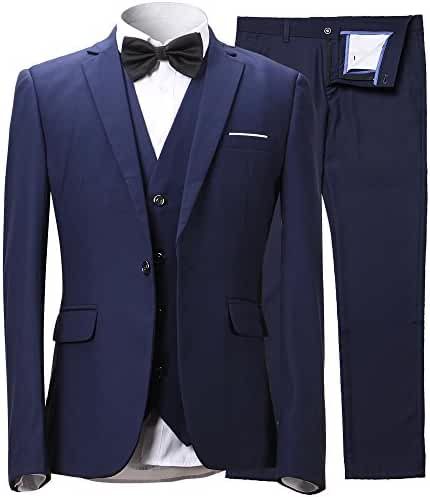 Men's Slim Fit One Button 3-Piece Suit Blazer Dress Suit Jacket Tux Vest & Trousers
