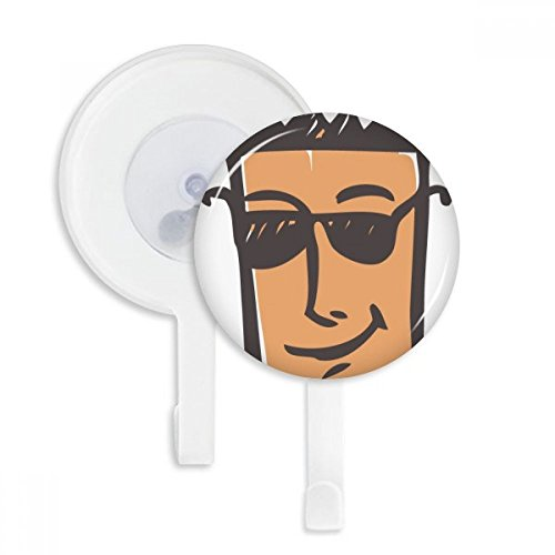 Sunglass Abstract Face Sketch Emoji Sucker Suction Cup Hooks Plastic Bathroom Kitchen 5pcs - Sunglasses Sketch