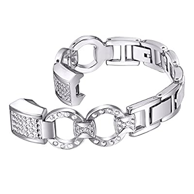 bayite For Fitbit Alta HR and Alta Bands, Replacement Metal Bands Silver Rose Gold with Rhinestone Bling