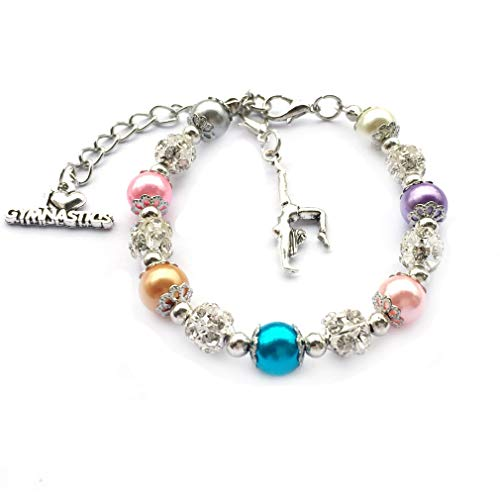 DOLON Gymnastics Themed Faux Pearl Beaded Charm Bracelet Gymnast Players Teams Club Lover Gift-Multi