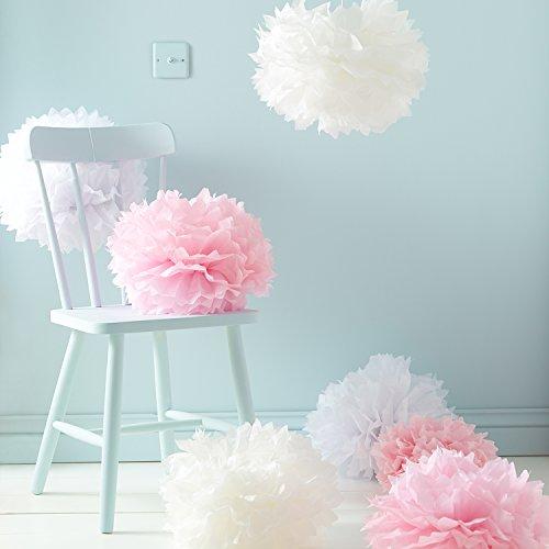 9er Set Seidenpapier PomPoms weiß rosa crème Hochzeit Party Deko