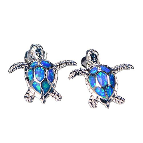 Vanessa Blue Opal Sea Turtle Stud Earrings Pendant, Jewelry Sets for Women 925 Sterling Silver Birthstone Jewelry Birthday Gifts(Earrings) (Sea Blue Studs)
